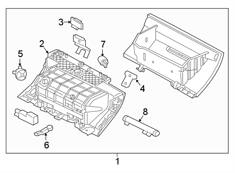 jaguar xf glove box assembly w cooled glove box from vin. Black Bedroom Furniture Sets. Home Design Ideas