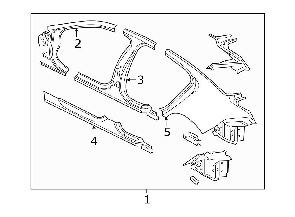 Jaguar Xe Body A-pillar  Hinge Pillar  Uniside  Rocker  Pillars  Left  Floor